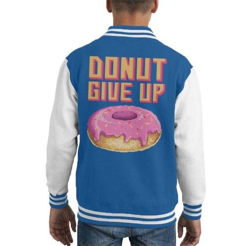 Retro Pixel Donut Give Up Kid's Varsity Jacket