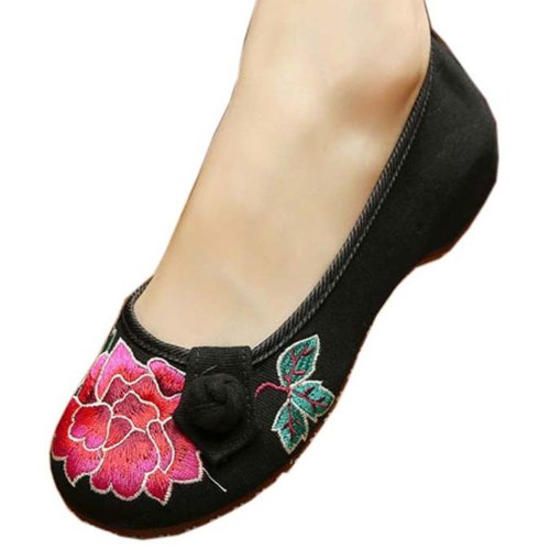 Vintage Design Chinese Shoes Embroidered Flats Cheongsam Shoes, #05