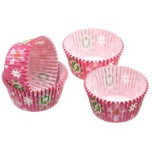 7cm Pink Pack Of 60 Let's Make Flower Patterned Paper Cake Cases -  lets makekclmccbutlets pack sixty butterfly cake cases