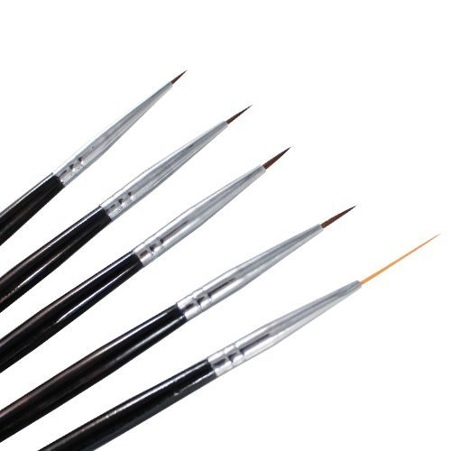 Winstonia 5 pcs Professional Nail Art Set Liner + Striping Brushes for Short Strokes, Details, Blending, Elongated Lines etc