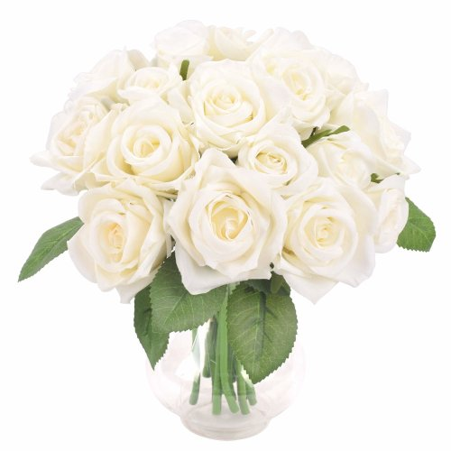 Famibay Rose Artificial Flower 18 Heads Roses Fake 2 Bouquets for Wedding Silk Artificial Flower Bouquet (White,No Vase)