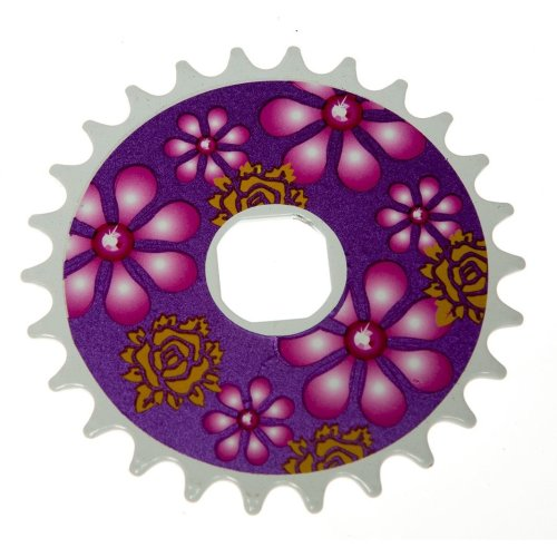 26T TEETH SPROCKET for ONE PIECE CRANK Bike Bicycle PURPLE FLOWERS (Square) NEW