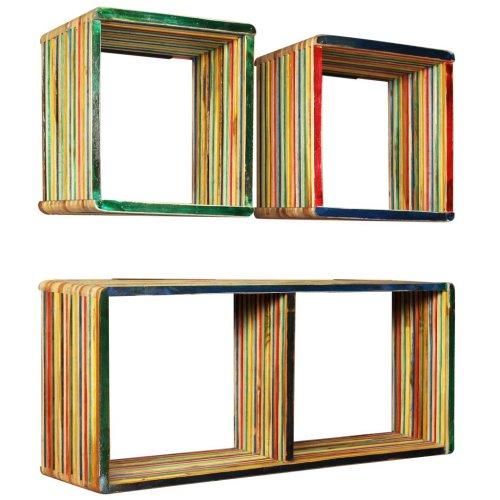 vidaXL Solid Reclaimed Teak Wall Shelf Set 3 Piece Multicolour Home Display