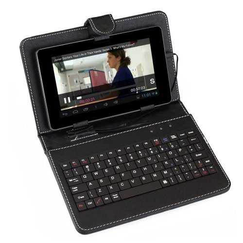 """Sumvision Black Keyboard Leather Case for 7"""" Android Tablet PC"""