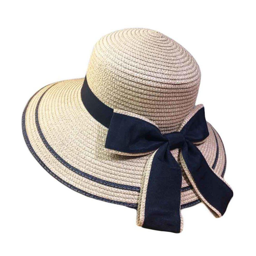 a6b3c8648af Women Sun Hats Wide Brim Straw Hats Foldable Bucket Hat Beach Hat Bowtie  Ribbon ...