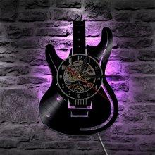 Decorative Home Vintage Gift Musical Guitar Led Vinyl Wall Clock