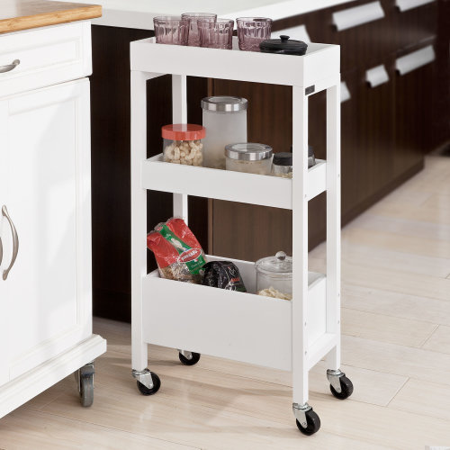 SoBuy® FKW49-W, Wooden 3 Tiers Serving Trolley, Storage Rack on Wheels