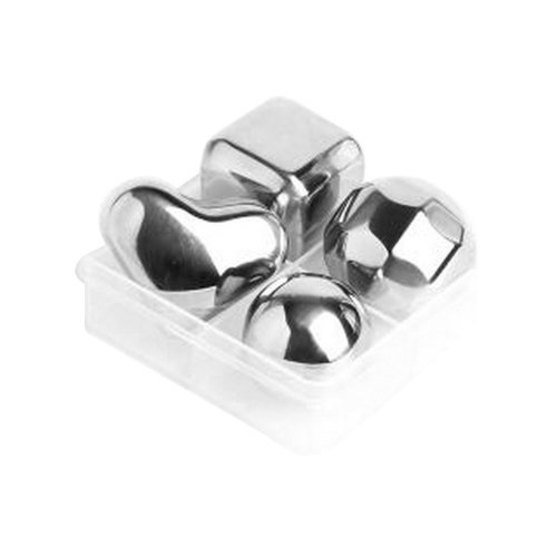 Set of 4 Multi Shape Stainless Steel Reusable Ice Cubes
