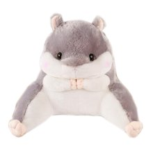 Cute Plush Seat Cushions Extra Soft Back Chair Pad  for Kitchen Office Car?Gray hamster