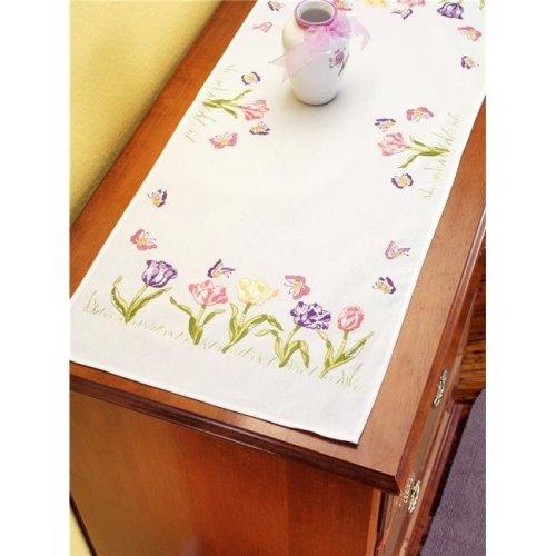 14 x 35 in. Dresser Scarf Stamped Embroidery - Tulip Garden