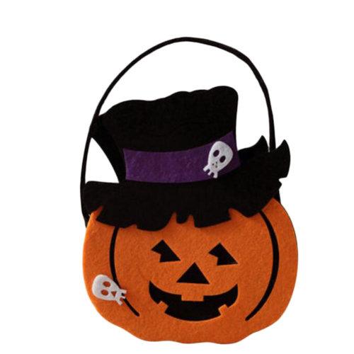 Trick Or Treat Pumpkin Halloween Party Decor Children Prop Candy Storage-A4
