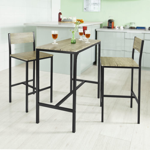 SoBuy® OGT03, 1 Bar Table and 2 Stools, Kitchen Breakfast Bar Set Dining Set