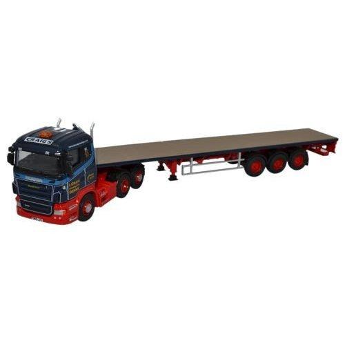 Oxford Diecast 76Shl01Ft Scania Highline Flatbed Trailer Ian Craig Haulage Ltd