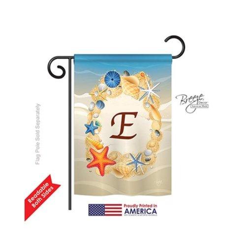 Breeze Decor 80161 Summer E Monogram 2-Sided Impression Garden Flag - 13 x 18.5 in.