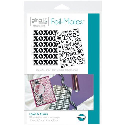 "Gina K Designs Foil-Mates Background 5.5""X8.5"" 10/Pkg-Love & Kisses, 2 Designs/5 Each"