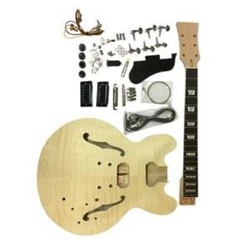Coban Mahogany Quilted maple veneer GDES240 top Hollow body Electric Guitar DIY kit