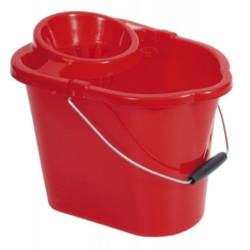 TML THW33-R Plastic Mop Bucket with Wringer Red 15 Litre