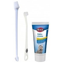 Trixie 25620cat Dental Care Kit–pack Of 1 - Toothpaste Cat Cheese 2 -  toothpaste cat dental cheese 2 toothbrushes 3 different heads trixie