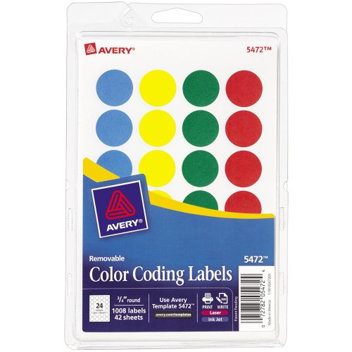 Avery Print/Write Self-Adhesive Removable Labels 1008/Pkg-Assorted (Blue, Green, Red, Yellow)
