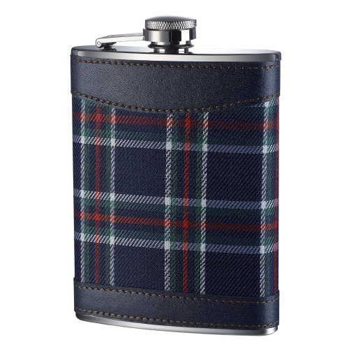 Premier Housewares Tartan Hip Flask, 8 oz - Blue