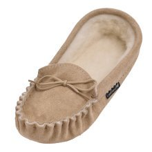 Ladies Premium Suede & Lambswool Moccasin Slippers
