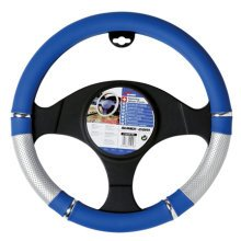37-39cm Blue Power Design Wheel Cover - Steering Glove Universal 3739cm -  blue steering wheel cover glove universal 3739cm power silverchrome fit
