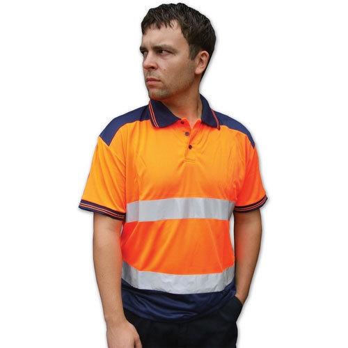 Click CPKSTTENORS Hi Vis Orange / Navy Blue Polo Shirt 2 Tone Small