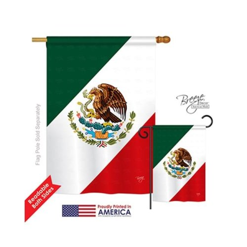 Breeze Decor 08019 Mexico 2-Sided Vertical Impression House Flag - 28 x 40 in.