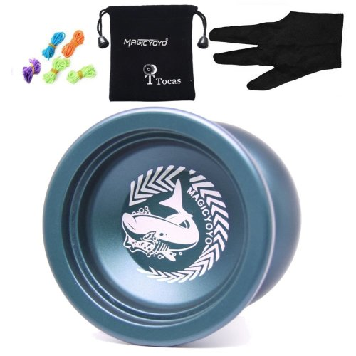 Authentic Magicyoyo N12 Shark Honor Unresponsive Yoyo with Bag+ 5 Strings + Glove, Aluminum, Toy Gift for Child, Deep Blue