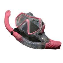 Scuba Diving Mask & Dry Snorkel Set Snorkeling Equipment for Adult, Pink