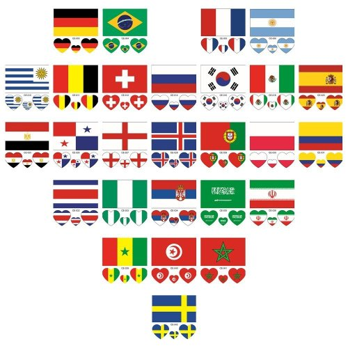 Ferryman FIFA World Cup Russia 2018 Face Stickers, 32 Countries Temporary Tattoos