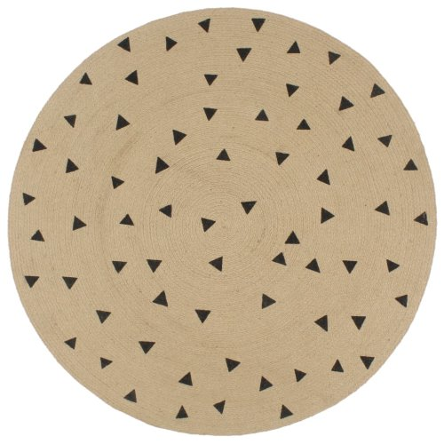vidaXL Handmade Rug Jute with Triangle Print 90cm Room Floor Protector Carpet
