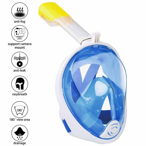 Omew Full Face Snorkel Mask, 180° Panoramic View Diving Snorkeling Mask Anti-fog Anti-leak Easy Breathing Swimming Mask with Action Camera Mount...