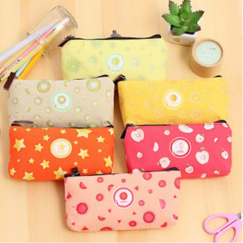 Cute Fruit Slice Patterned Canvas Pencil Case