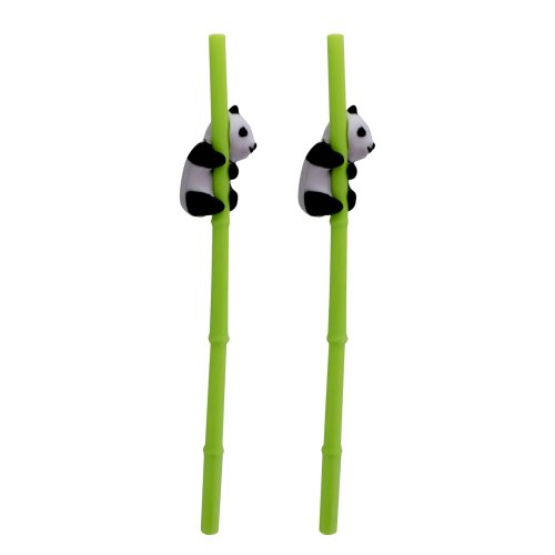 Cute Novelty Panda Reusable On The Go Drinking Straws Set Of 2 Tropical Design