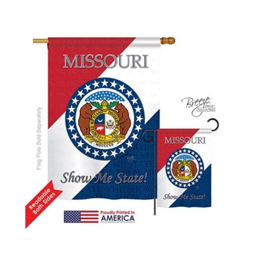 Breeze Decor 08129 States Missouri 2-Sided Vertical Impression House Flag - 28 x 40 in.