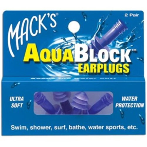 Macks 360015 Ear Care Aquablock Earplugs - 2 Pair