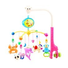 138 Contents in Chinese Rechargeable Battery Musical Soothe Dreams Mobile,Animal Pink