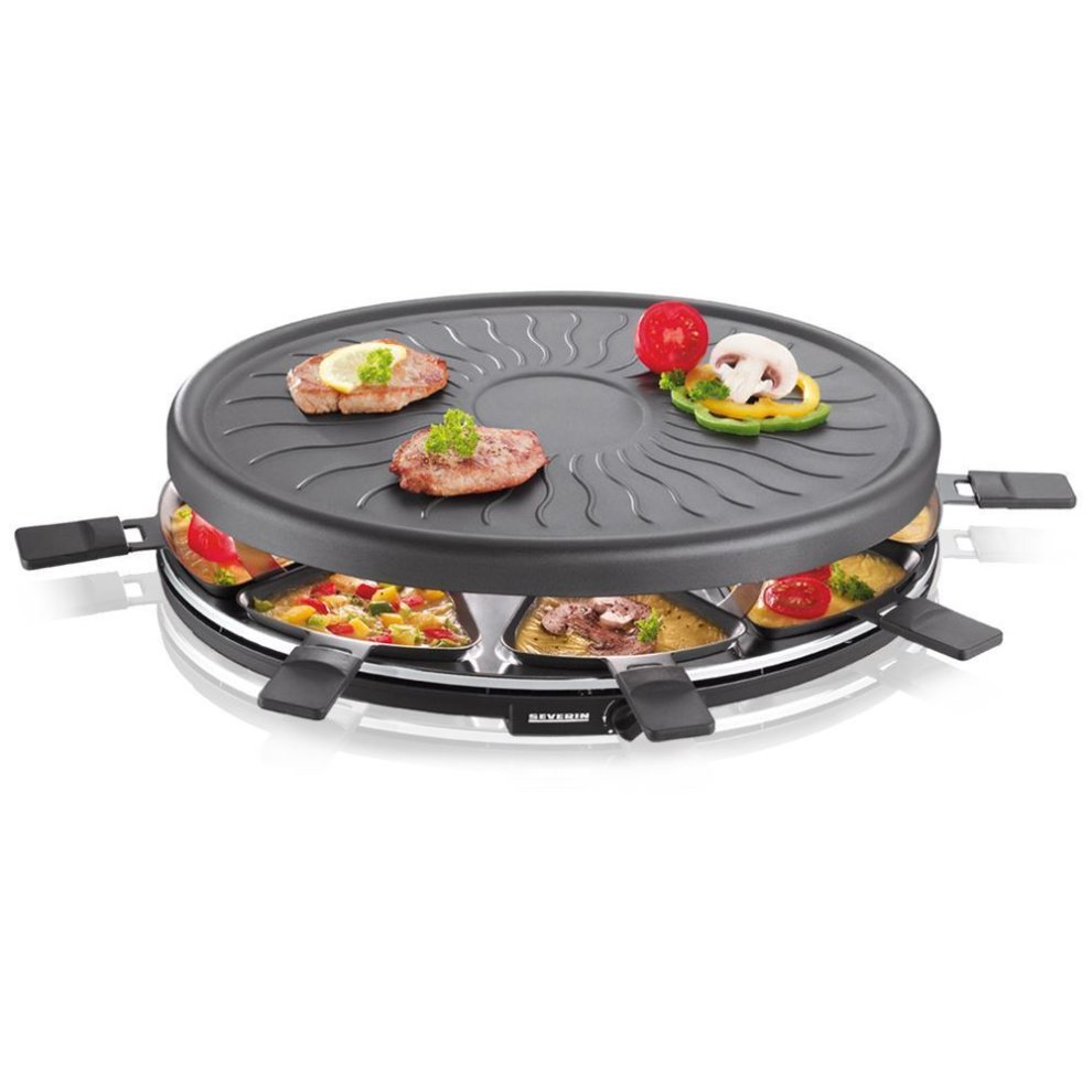 severin party cooking raclette grill 8 mini pans variable thermostat non stick on onbuy