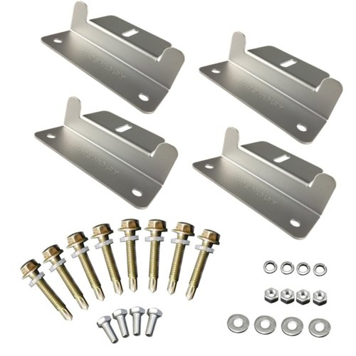 Renogy Solar Panel Module Mounting Z Bracket 4 Units: Complete Set of 4 Solar Panel Z Style Aluminum Brackets, Nuts, Bolts and Washers for Mounting...
