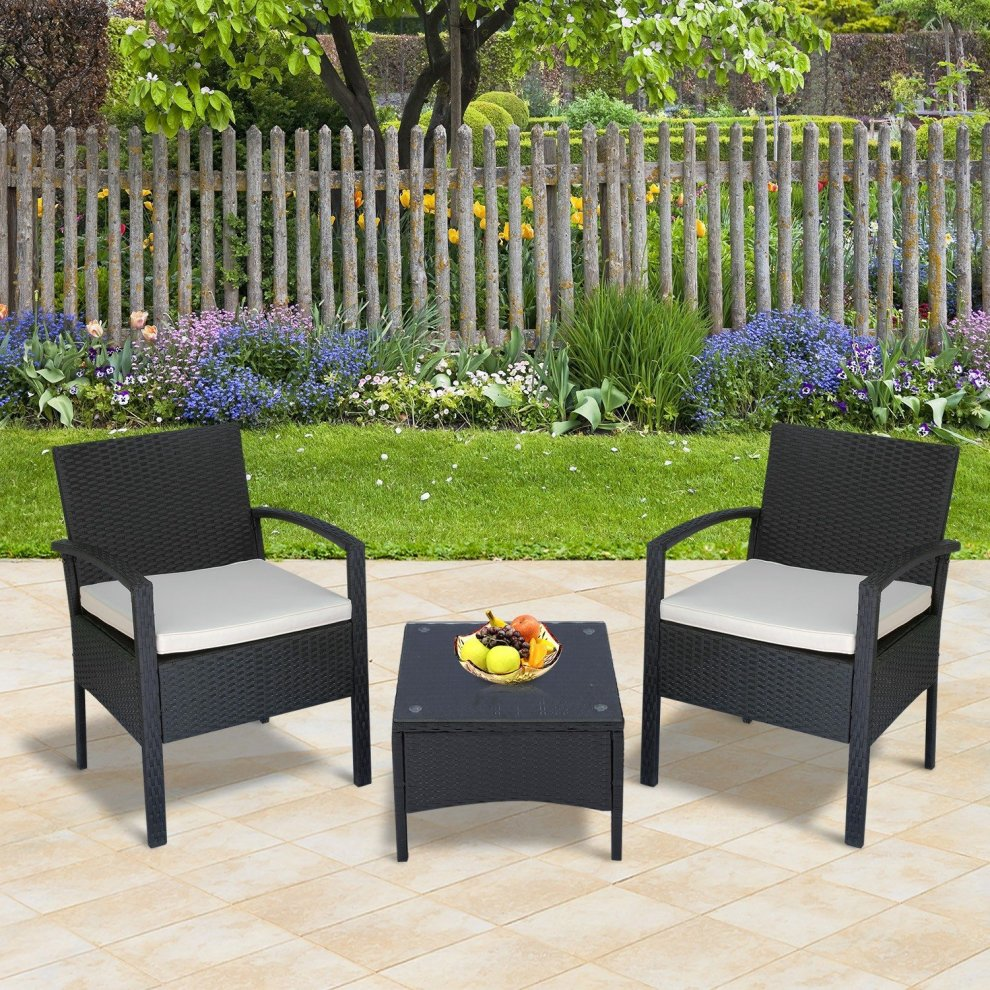 Outsunny 3pc Rattan Bistro Set Outdoor Chair Coffee Table Patio W Cushion Brown On