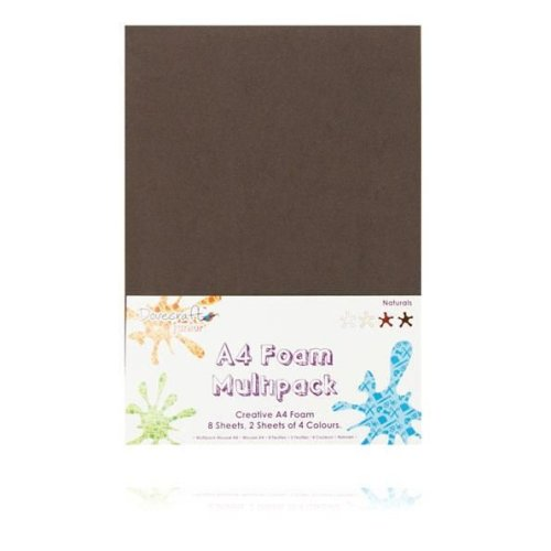 Dovecraft A4 Foam Sheets - 8 Sheets in 4 colours - Naturals
