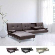 Corner Sofa Bed in Faux Leather Modular 3 Seats COBALTO