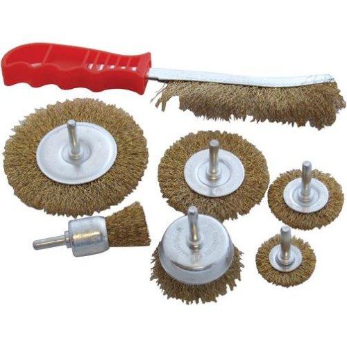 7pc Wire Brush Set Wheel Brushes Brass Hand Brush Wheel Rotary Cleaning Drill