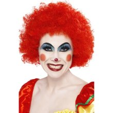 Smiffys Crazy Clown Wig - Red -  wig clown afro fancy dress red smiffys curly crazy unisex costume accessory circus adults 70s 80s mens ladies