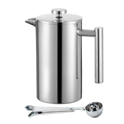 Meelio French Press Coffee Maker,Double Wall 18/8 Stainless Steel Heat Resistant Tea or Cafetiere Kettle(1 Liter,34OZ) Gift Set With Coffee...