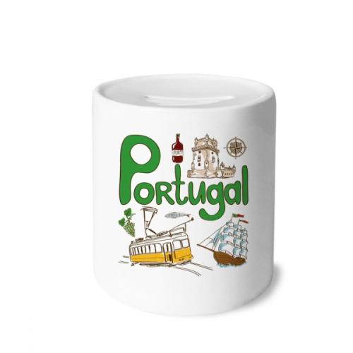 Portugal National symbol Landmark Pattern Money Box Saving Banks Ceramic Coin Case Kids Adults