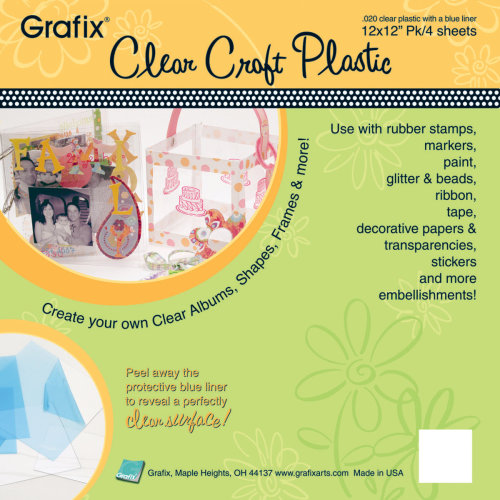 "Grafix Craft Plastic Sheets 12""X12"" 4/Pkg-Clear .020"