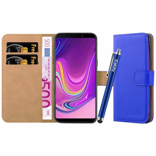 (Blue) For Galaxy A9 2018 Leather Wallet Case Cover