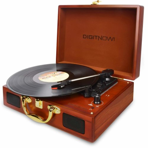 DIGITNOW! Rechargeable Record Player for Vinyl / LP, Belt-drive 3-Speed Turntable for Vinyl to MP3 Recording , with Stereo Speakers, Headphone...